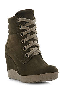 DUNE Plaster suede wedge trainers