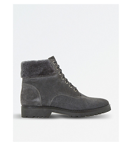DUNE Shearling suede boots (Grey-suede
