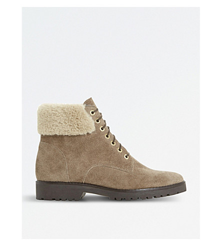 DUNE Shearling suede boots (Beige-suede