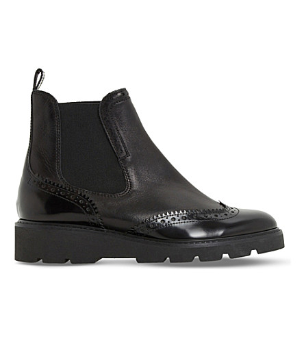 DUNE Pacey leather brogue chelsea boots (Black-leather mix