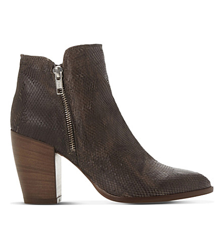 DUNE Pia reptile-embossed leather ankle boots (Taupe-reptile