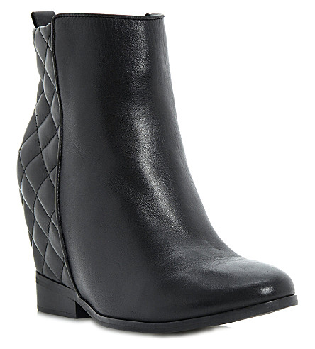 DUNE Pex quilted wedge boots (Black-leather