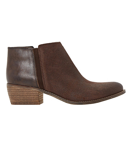 DUNE Penelope suede and leather ankle boots (Brown-leather