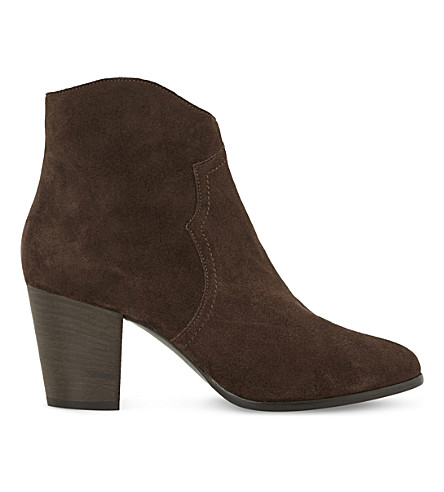 DUNE Priscila Heeled Ankle Boot (Brown-suede