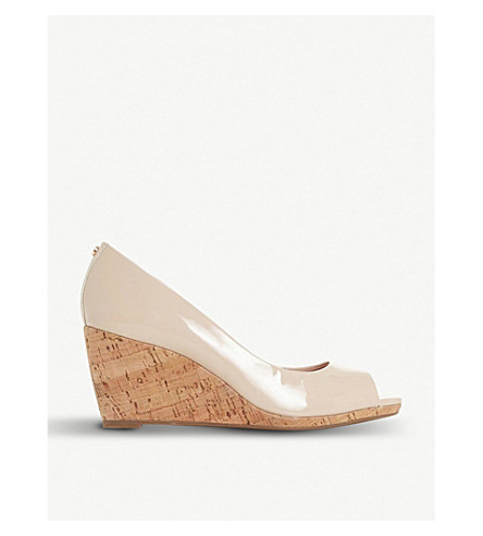 DUNE Cadence patent-leather wedge courts (Nude-patent