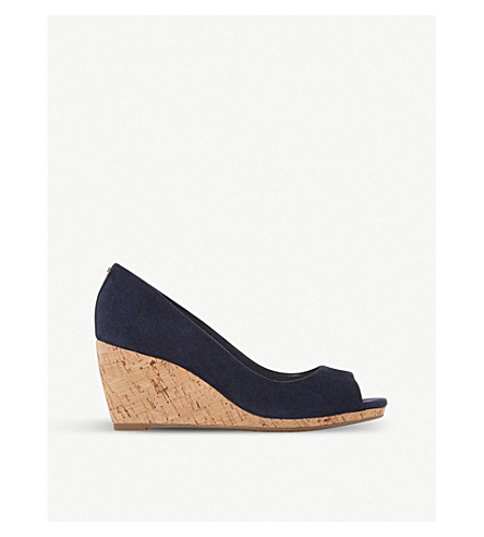 DUNE Caydence suede wedge sandals (Navy-suede