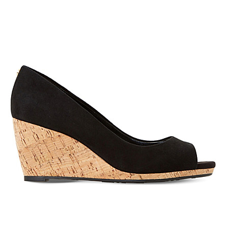 DUNE Cadence suede cork wedge courts (Black-suede