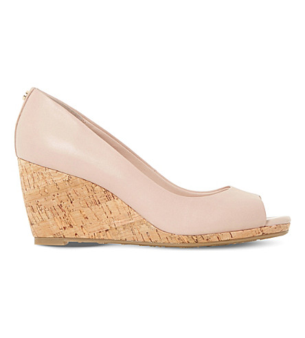 DUNE Cadence leather cork wedge courts (Blush-leather