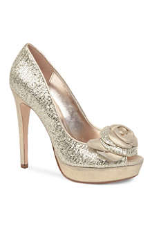 DUNE Discos metallic peep-toe platform court shoes