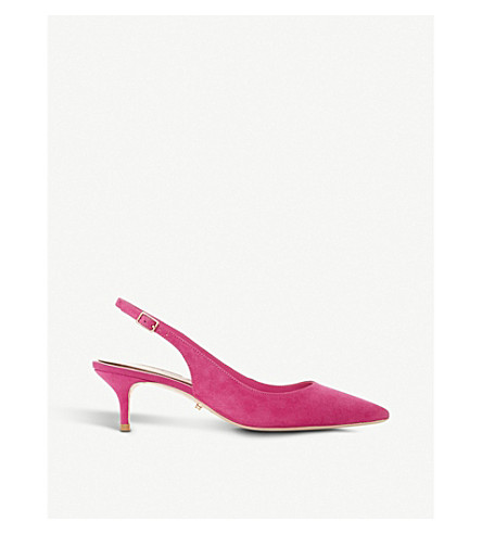 DUNE Casandra slingback suede courts (Pink-suede