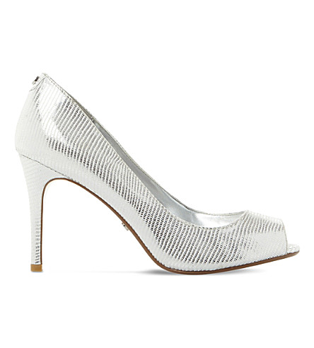 DUNE Dinaa metallic leather courts (Silver-metallic