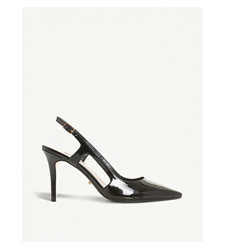 DUNE Crowne slingback patent court shoes (Black-synthetic+patent