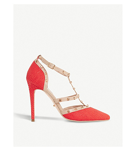 DUNE Daenerys studded reptile-effect leather courts (Orange