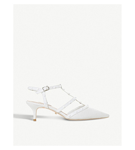 DUNE Casterly croc-embossed court shoes (White-croc