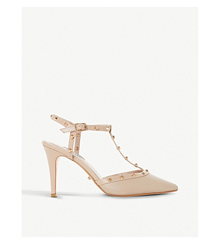 DUNE Catelyn studded suede courts (Nude-leather