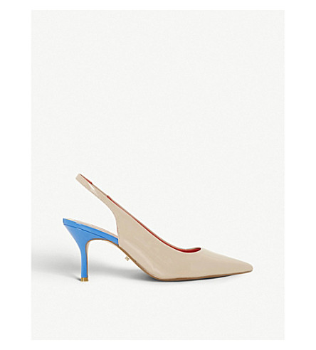 DUNE Cherubb two-tone patent slingback courts (Nude-patent+synthetic