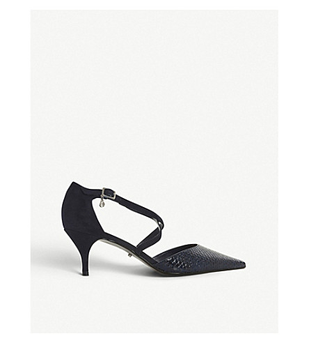 DUNE Courtnee snakeskin-effect leather courts (Navy-reptile