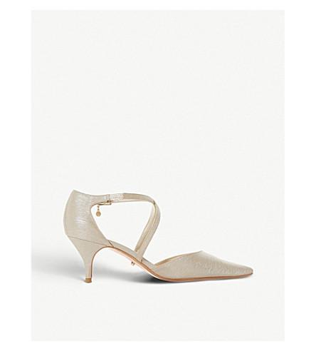 DUNE Courtnee cross-strap leather kitten heel courts (Gold-metallic+fabric