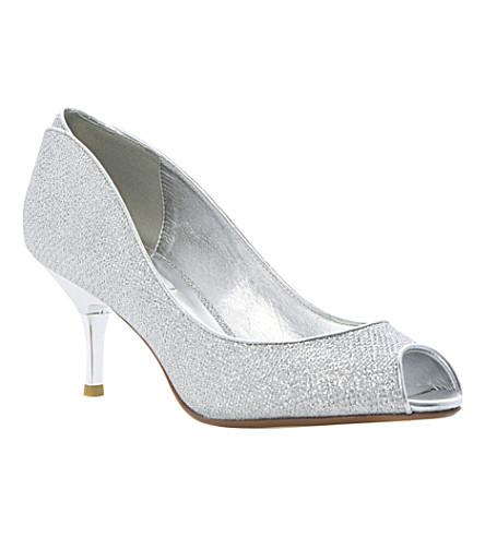 DUNE Decra glitter peep-toe courts (Silver-fabric