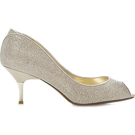 DUNE Decra glitter peep-toe courts (Champagne-fabric