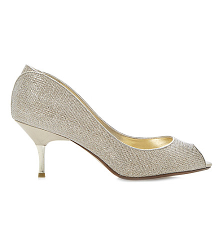 DUNE Decra glitter court shoes (Champagne-fabric