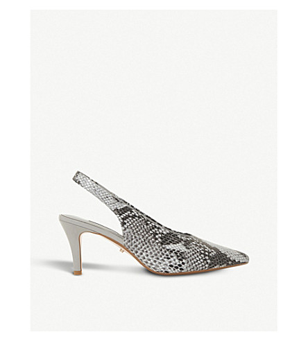 DUNE Cas reptile-embossed leather slingback courts (Grey-reptile