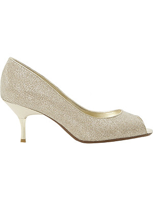 DUNE Delia peep-toe lurex court shoe