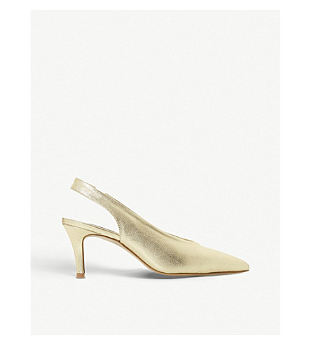 DUNE Cantrel metallic leather slingback courts (Gold
