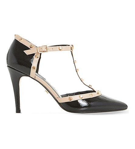 DUNE Cliopatra studded patent-leather court shoes (Black