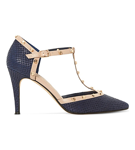 DUNE Cliopatra studded leather t-bar courts (Navy-reptile