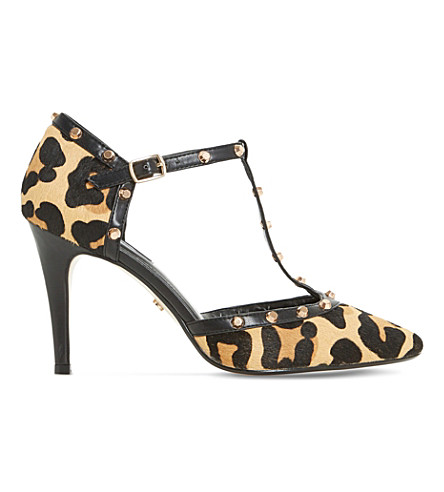DUNE Cliopatra studded pony-hair leather courts (Leopard-pony