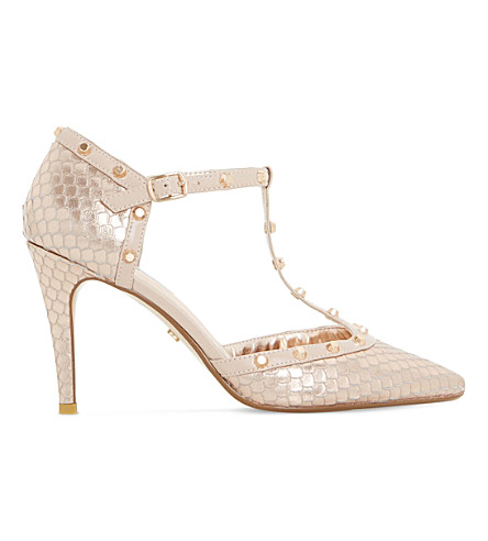 DUNE Cliopatra snake-embossed leather courts (Rose+gold-reptile