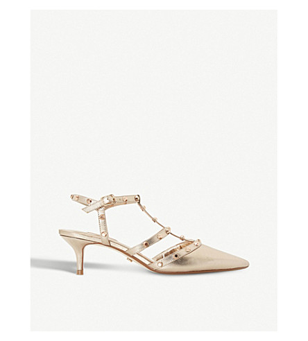 DUNE Casterly studded-strap leather courts (Champagne-leather