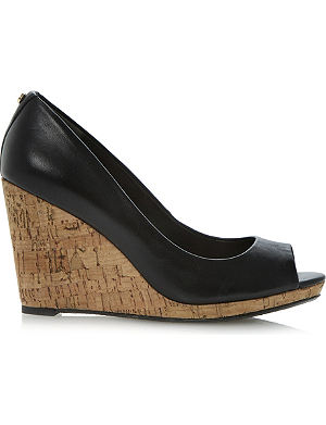 DUNE Celia cork-wedge court shoes