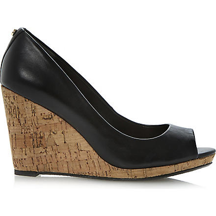 DUNE Celia cork-wedge court shoes (Black-leather