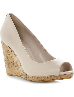 DUNE Celia cork-wedge court shoes