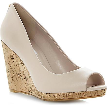 DUNE Celia cork-wedge court shoes (Nude-leather