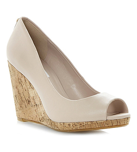 DUNE Celia cork-wedge court shoes (Nude-leather