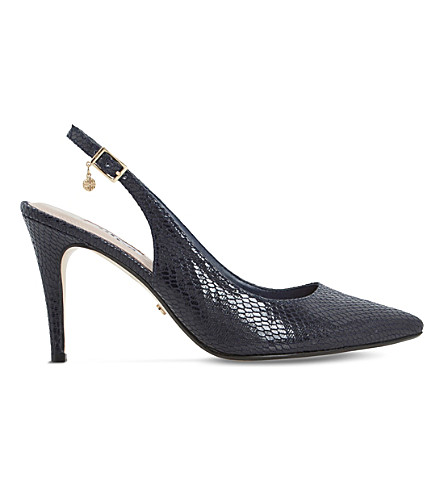 DUNE Cathy reptile-effect slingback courts (Navy-reptile+synthetic