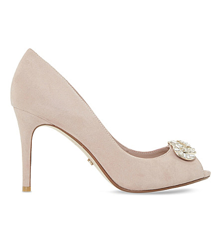 DUNE Dolley suede peep-toe courts (Blush-suede
