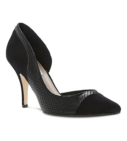 DUNE Constance semi d'orsay court shoes (Black-suede