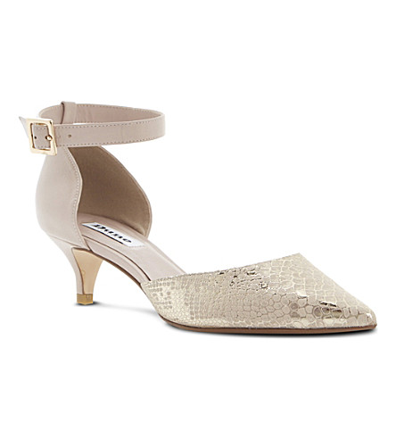 DUNE Cameran pointed-toe leather court shoes (Gold-reptile