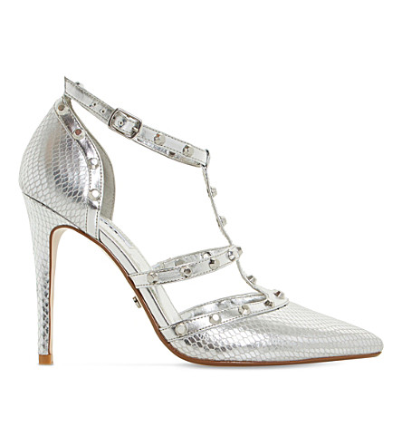 DUNE Daenerys studded metallic reptile-effect courts (Silver-reptile