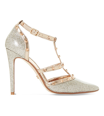 DUNE Daenerys stud-embellished glitter heeled courts (Gold-glitter