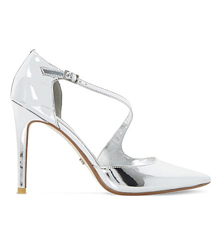 DUNE Constanse strappy metallic court shoes