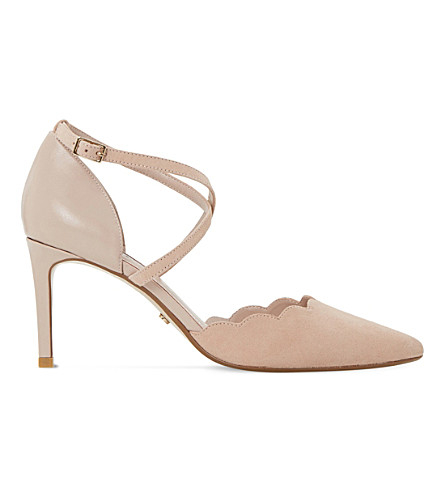 DUNE Cerys scalloped edge suede courts (Blush-suede