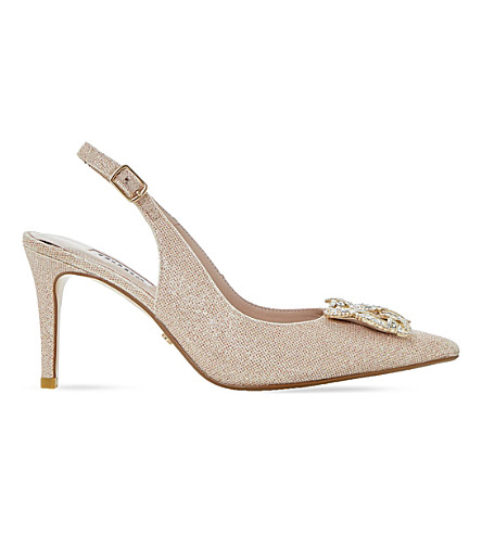 DUNE Daphnie jewelled slingback courts (Blush-fabric