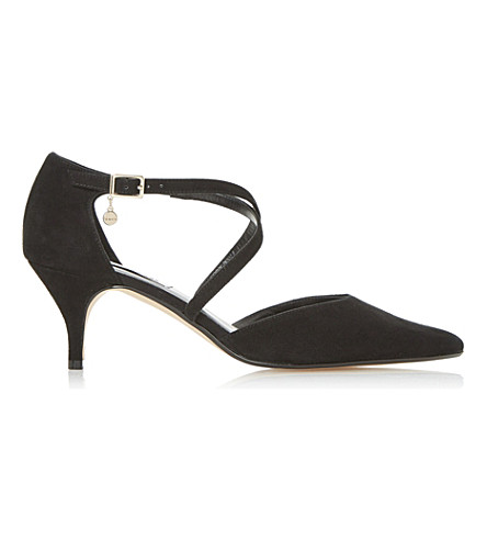 DUNE Courtnee suede cross strap kitten heel (Black-suede