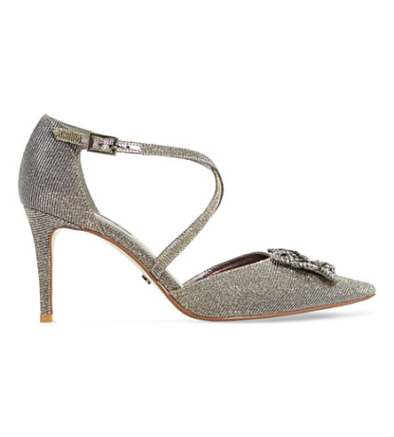 DUNE Deena metallic fabric brooch court shoe (Gold-metallic+fabric