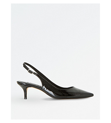 DUNE Casandra sling-back patent courts (Black-synthetic+patent